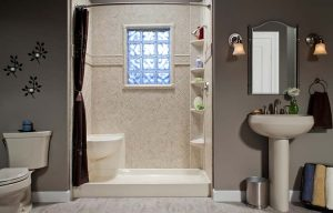 bathroom with shower and bathtub