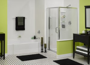 new bathtub and shower area