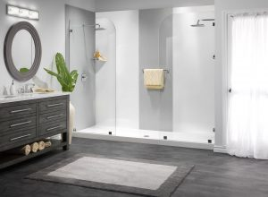 Madera Shower Remodel Basket Weave and White Smooth Walls with Oversized White Shower Base client 300x220