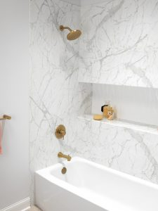 Woodlake Bathtub Replacement Calcutta Marble Close Up client 225x300