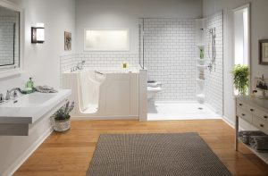 Goshen Shower Remodel Othello Subway Walls Low Barrier Shower with Ramp Walk In Bathtub and Shower Combo Chrome Fixtures client 300x197