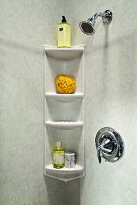 Woodlake Shower Installation Roman Stone 4 Shelf Rectangular Corner Caddy client 200x300