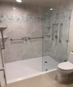 Goshen Shower Remodel Walk In Shower with Adjustable Rain Shower Head client 250x300